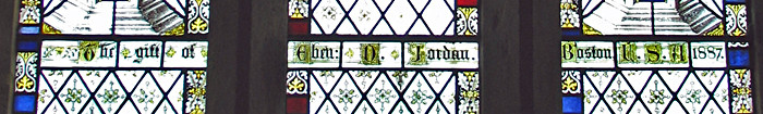 Tatham Church east window inscription Eben D Jordan 1887