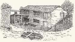 Millhouses bobbin mill c.1950 drawing by author