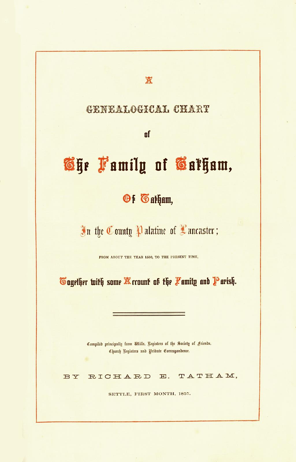 Title page of Tatham Genealogy 1857